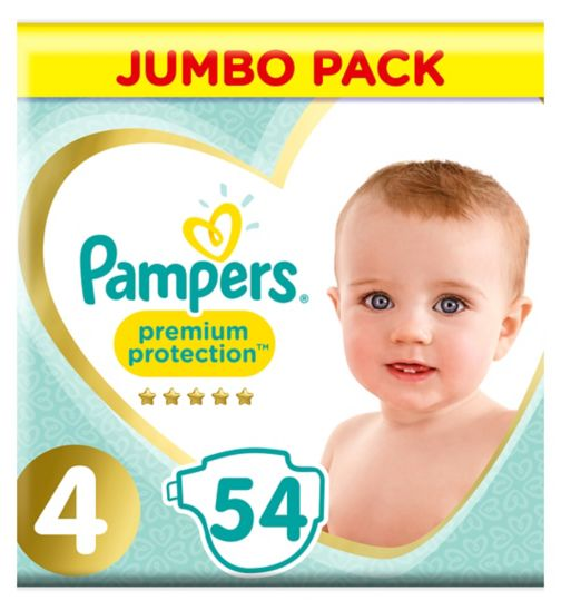 Pampers Premium Protection Size 4, 54 Nappies, 9-14kg