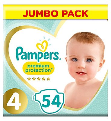 Premium Protection Size 4, Jumbo Pack 54 Nappies, 9-14kg