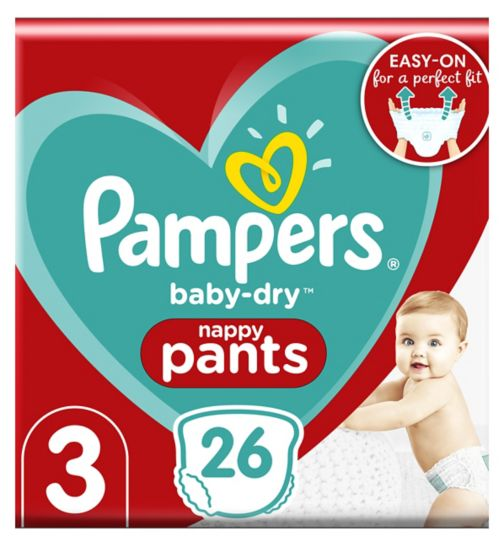 Pampers Baby-Dry Pants Size 3, 26 Nappy Pants, 6-11kg, Easy To Change