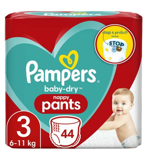 Pampers Baby-Dry Nappy Pants Size 3, 44 Nappies, 6kg-11kg, Essential Pack