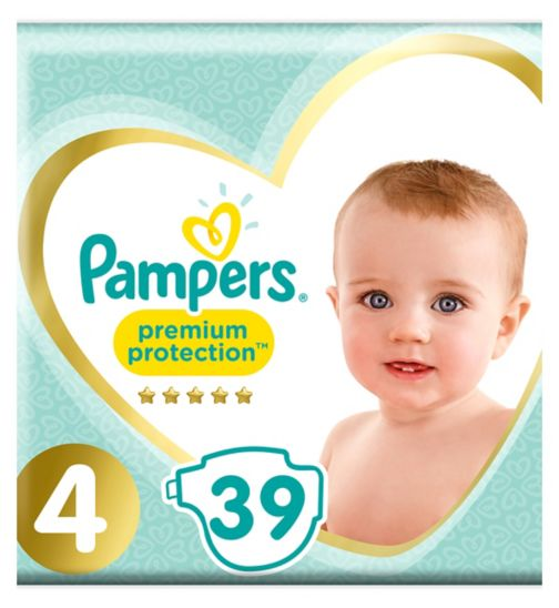 Pampers Premium Size 4, 39 Nappies, 8-16kg,With Absorbing Channels