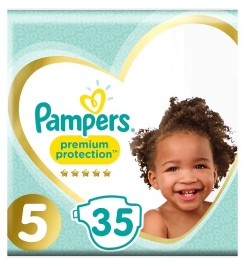 Pampers Premium Size 5, 35 Nappies, 11-23kg,With Absorbing Channels