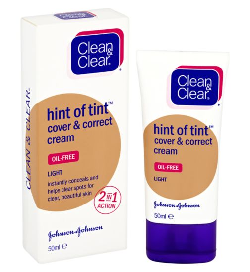 CLEAN & CLEAR® Hint of Tint? Cover & Correct Cream Light Shade