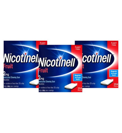 Nicotinell Fruit 2mg Chewing Gum - 204 Pieces;Nicotinell Fruit 2mg Chewing Gum - 204 Pieces;Nicotinell Fruit 2mg Chewing Gum - 612 Pieces