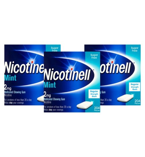 Nicotinell     mint 2mg       gum 204's;Nicotinell Mint Medicated Chewing Gum 2mg - 204 pieces;Nicotinell Mint Medicated Chewing Gum 2mg - 612 Pieces