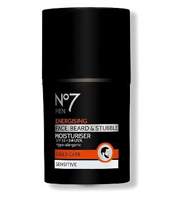Image of No7 Men Energising Face, Beard & Stubble Moisturiser