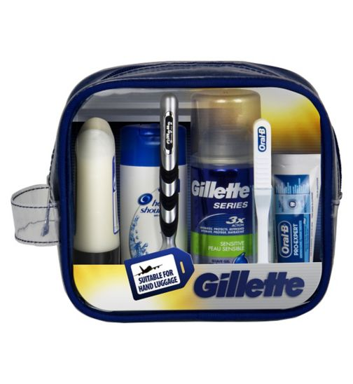 Gillette Travel Set Mach3 Razor + Shave Care + Oral Care + Hair Care