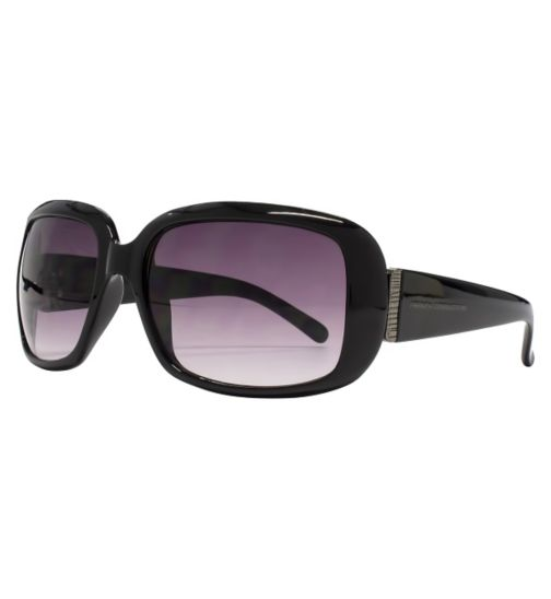 French Connection Woman Black Square Sunglasses black with Metal Trim