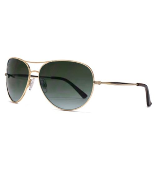 French Connection Woman Shiny Gold Aviator Sunglasses