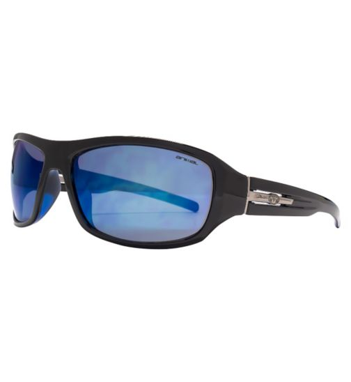 Animal Black Sports Sunglasses with Metal Logo Trim