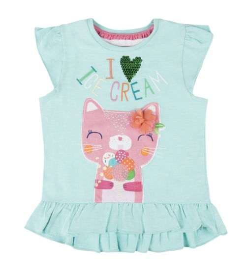 Mini Club Girls Top Blue Cat
