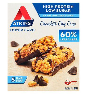 Atkins Chocolate Chip Crisp Bar 5 Bar Multipack 5 x 30g