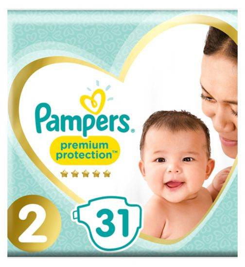 Pampers New Baby Size 2, 31 Nappies, 3-6kg, With Absorbing Channels