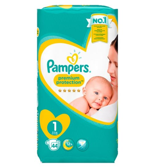 Pampers New Baby Size 1, 44 Nappies, 2-5kg, With Absorbing Channels