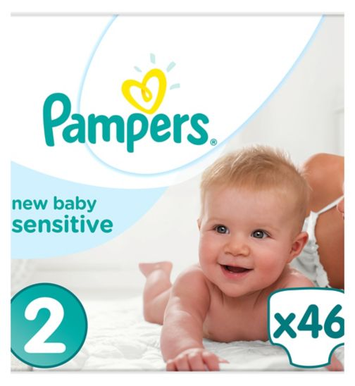 Pampers New Baby Sensitive Size 2, 46 Nappies, 3-6Kg, With Absorbing Channels