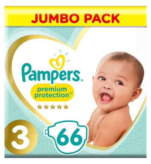 Pampers Premium Protection Size 3 Jumbo Pack 66 Nappies