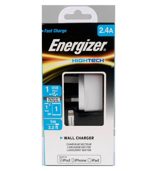 Energizer 2.4A UK Wall Charger & Lightning Cable