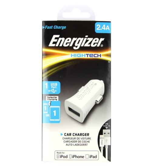 Energizer USB In Car Charger With Lightning Cable