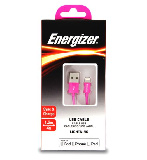 Energizer Apple 1.2M Lightning Cable Pink