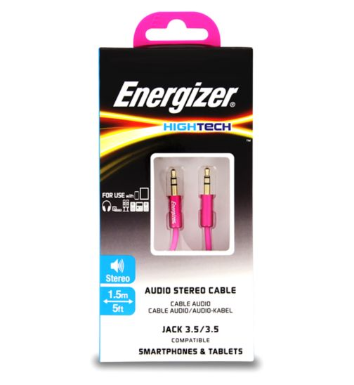 Energizer Audio Jack Cable Pink 3.5mm
