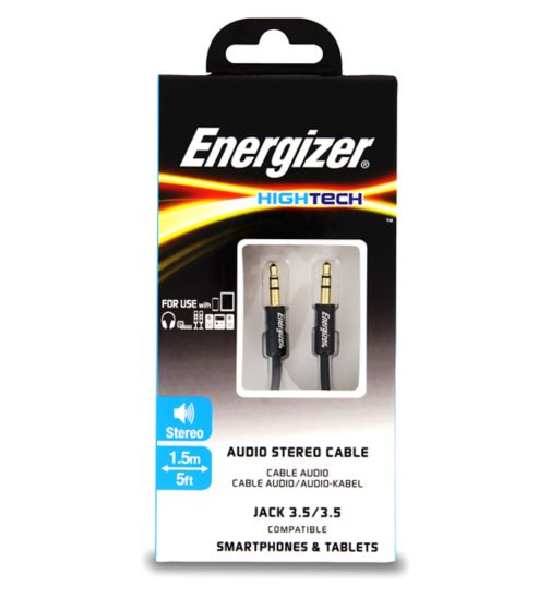 Energizer Audio Jack Cable Black 3.5mm