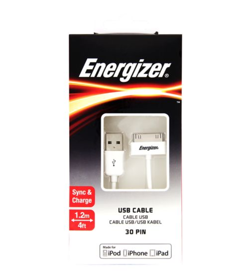 Energizer Apple 30 Pin USB Cable 1.2m
