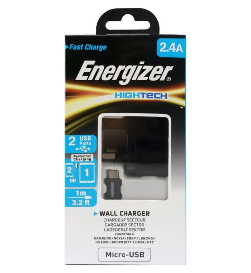 Energizer 2.4A UK Wall Charger & Micro USB