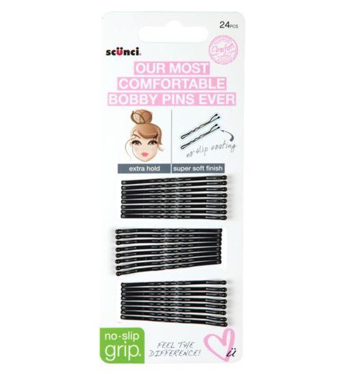 Scunci comfort no slip grip pins blk 24
