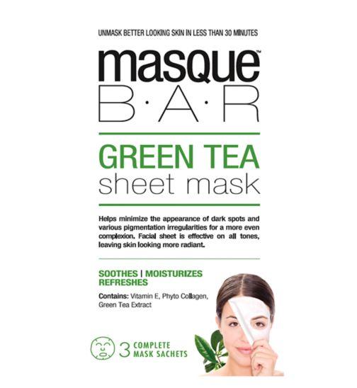 Masque Bar Green Tea Sheet Mask - 3 complete masks