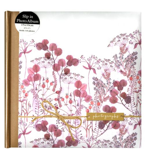 Pink Floral Watercolour with Kraft Sleeve 6x4 - 140 Photos