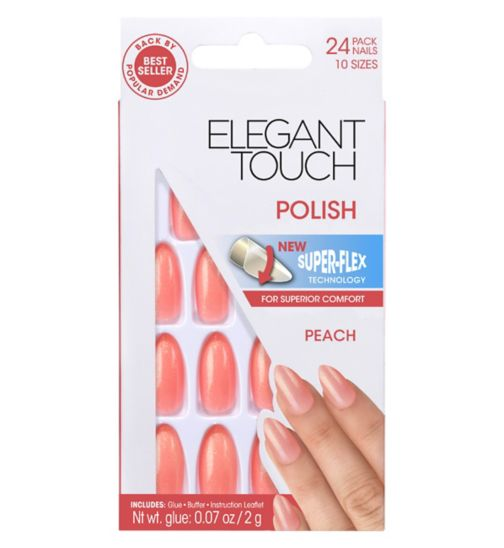 Elegant Touch Polish Nails - Peach