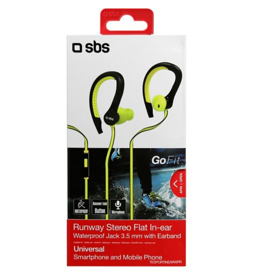 SBS Runway Flat Sports Earphones With Mic Yellow