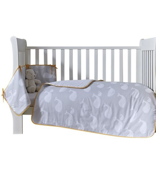 Clair de Lune Whales Cot/Cot Bed Quilt and Bumper Set