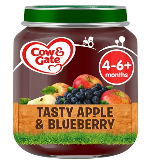 Cow & Gate Tasty Apple & Blueberry from 4-6m Onwards 125g