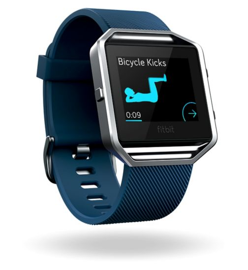 Fitbit Blaze Fitness Super Watch - Blue/Silver (Small)