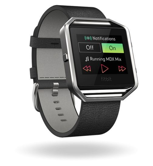 Fitbit Blaze Fitness Super Watch Leather Accessory Band - Black (Small)