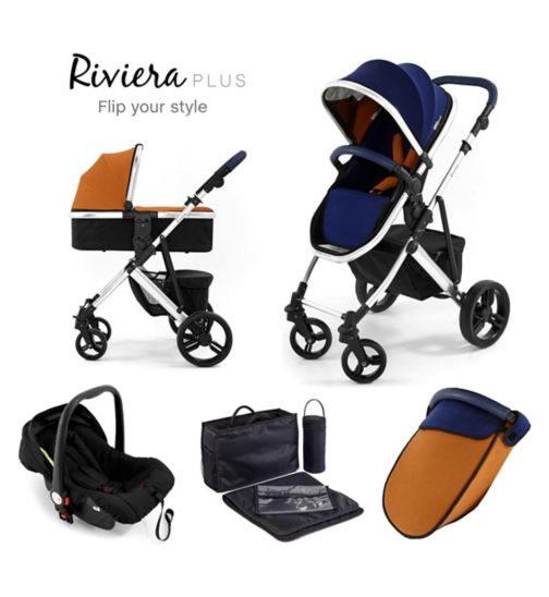 Tutti Bambini Riviera Plus 3-in-1 Silver Travel System - Black / Coral Red