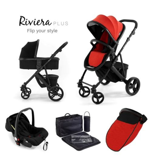 Tutti Bambini Riviera Plus 3-in-1 Black Travel System - Black/Coral Red