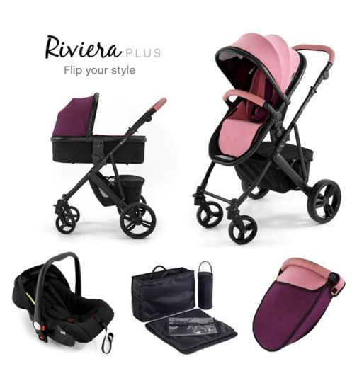 Tutti Bambini Riviera Plus 3-in-1 Black Travel System - Dusty Pink/Plum