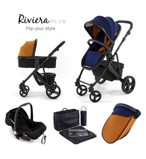 Tutti Bambini Riviera Plus 3-in-1 Black Travel System - Midnight Blue/Tan