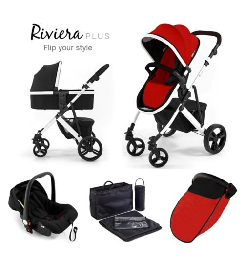 Tutti Bambini Riviera Plus 3-in-1 White Travel System - Black/Coral Red