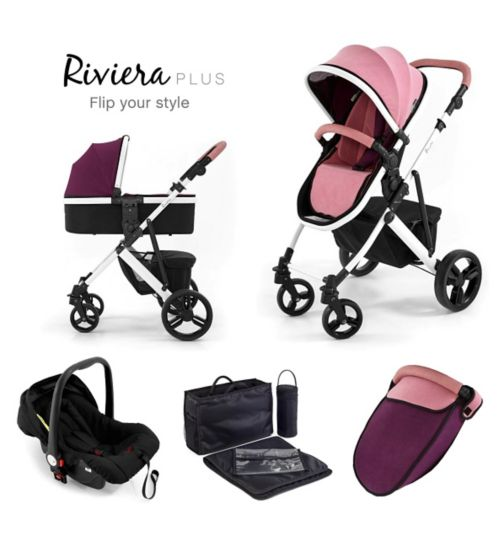 Tutti Bambini Riviera Plus 3-in-1 White Travel System - Dusty Pink/Plum