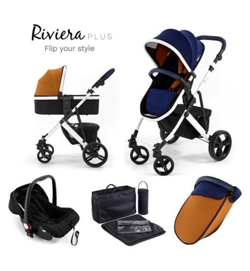 Tutti Bambini Riviera Plus 3-in-1 White Travel System - Midnight Blue/Tan