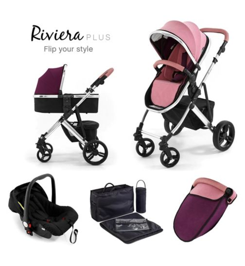 Tutti Bambini Riviera Plus 3-in-1 Chrome Travel System - Dusty Pink/Plum
