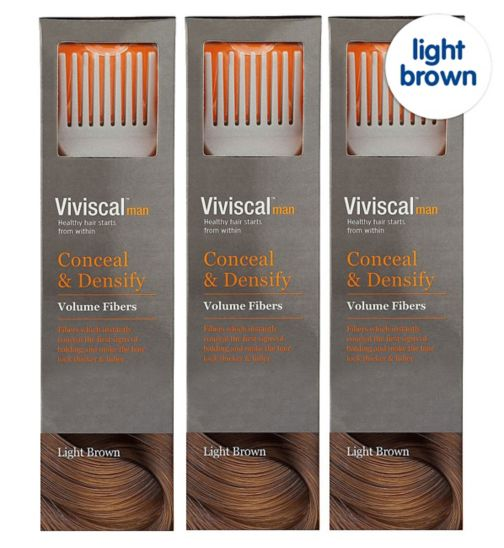 Viviscal Conceal & Densify Volume Hair Fibres - Light Brown;Viviscal Conceal & Densify Volume Hair Fibres - Light Brown (3 pack);Viviscal Hair  Fibres male applight brow