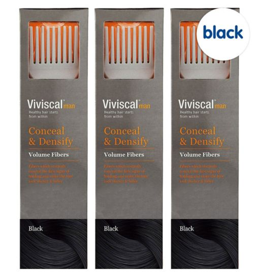 Viviscal Conceal & Densify Volume Hair Fibres - Black;Viviscal Conceal & Densify Volume Hair Fibres - Black (3 pack);Viviscal Hair Fibers male Black