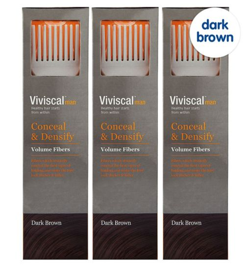 Viviscal Conceal & Densify Volume Hair Fibres - Dark Brown;Viviscal Conceal & Densify Volume Hair Fibres - Dark Brown 3 pack;Viviscal Hair  Fibres male appdark brown