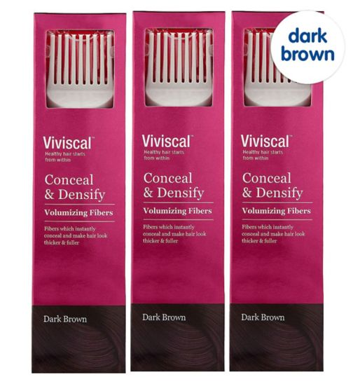 Viviscal Conceal & Densify Volumizing Hair Fibres - Dark Brown;Viviscal Conceal & Densify Volumizing Hair Fibres - Dark Brown 3 pack;Viviscal Hair Fibres female  dark brown