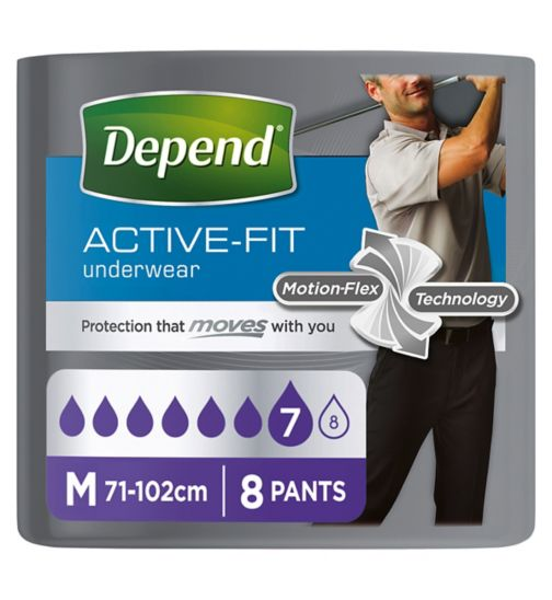 Depend Active-Fit Underwear for Men Medium - 8 Pants