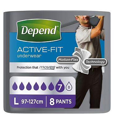 Depend Active-Fit Underwear for Men Large - 8 Pants